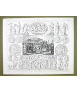 ROMAN SACRIFICE Gods Mythology Psyche Eros Graces - 1844 SUPERB Engravin... - $24.70