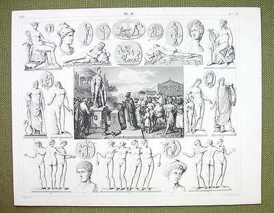 SACRIFICE TO MARS Roman Gods Mythology Venus Graces- 1844 SUPERB Engraving Print