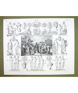 SACRIFICE TO MARS Roman Gods Mythology Venus Graces- 1844 SUPERB Engravi... - $24.70