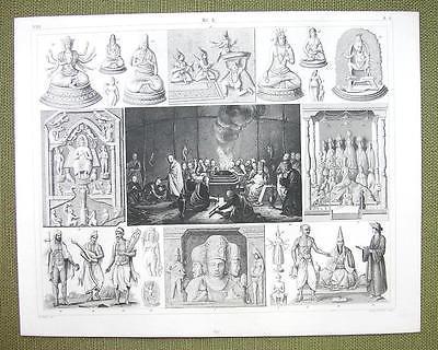 TIIBET China Dalai Lama Funeral Rites IDols Gods - 1844 SUPERB Engraving Print