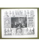 TIIBET China Dalai Lama Funeral Rites IDols Gods - 1844 SUPERB Engraving... - $24.70