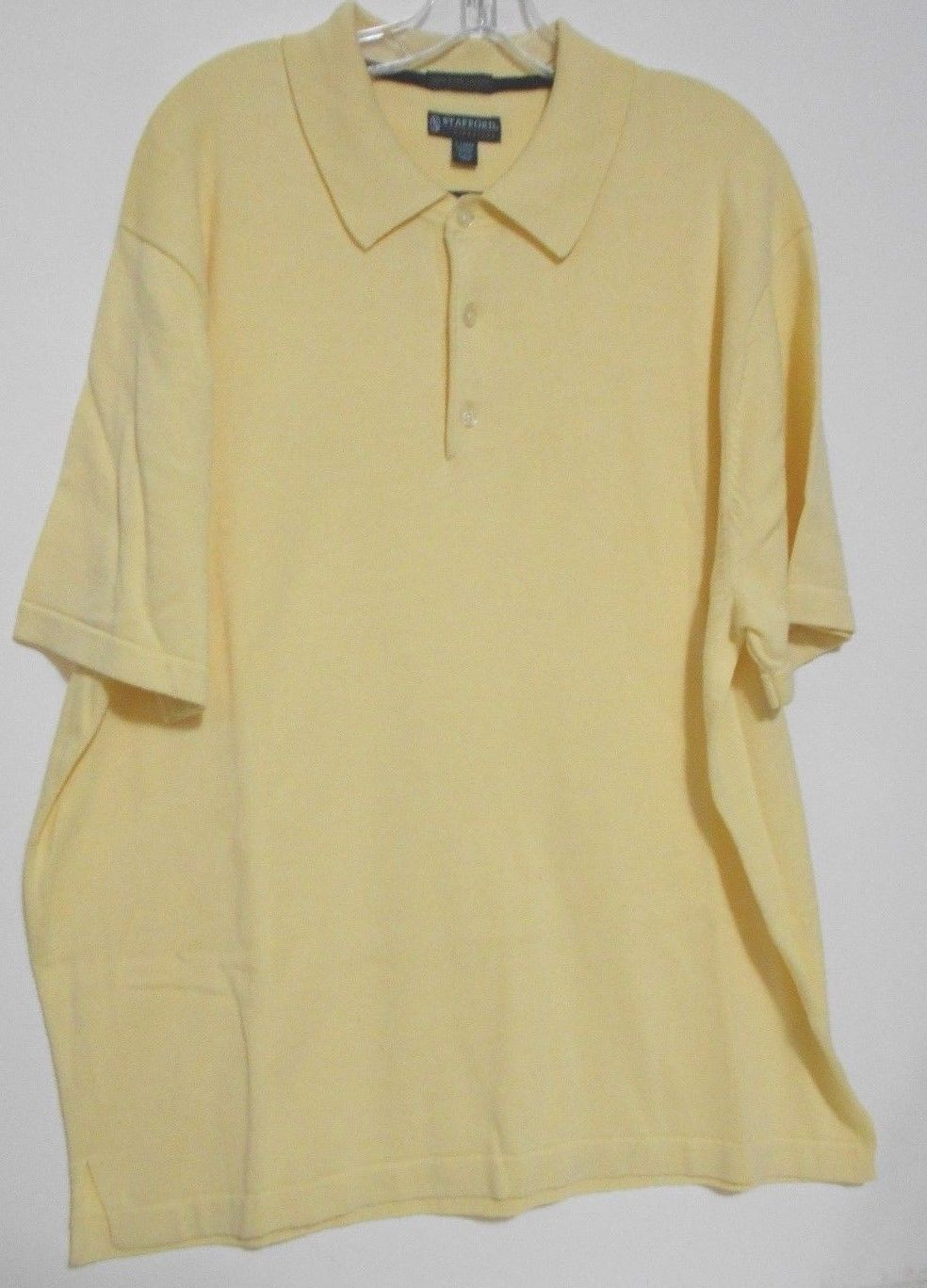 Stafford signature mens ex large yellow pima cotton polo for Yellow golf polo shirts