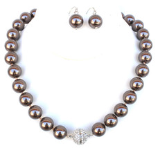 Knotted Screw Closure Sepia Brown Glass Pearl Pave Crystal Ball Necklace Set - $4.99