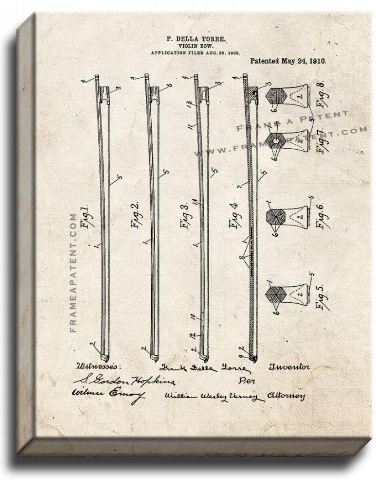Primary image for Violin Bow Patent Print Old Look on Canvas