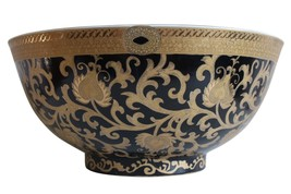 """Chinese Black and Gold Tapestry Motif Porcelain Bowl w Base 14"""" Diameter - $197.99"""