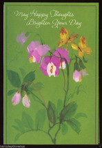 1960's HAPPY THOUGHTS Greeting CARD Orchids Butterfly Bee Mid Century Mo... - $5.95