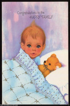 1960's CONGRATULATIONS New BABY Teddy Bear Vintage GREETING CARD Unused - $6.95