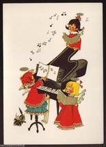 Vintage 1960's CHRISTMAS Angels Singing Carols at Piano Greeting CARD Un... - $9.95