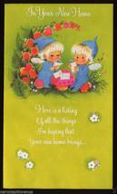 UNUSED 1960's ELF Elves PIXIES Fairy Fairies NEW HOME Greeting CARD Mid Mod - $9.95