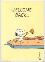 1970's SNOOPY Peanuts WELCOME BACK Woodstock SANDBOX Vintage GREETING CARD - $5.95