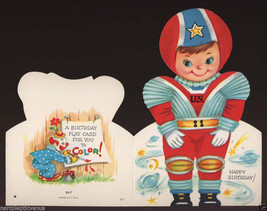 Cute Vintage BIRTHDAY ASTRONAUT Boy COLOR IT Paperdoll GREETING CARD 1950's - $5.95