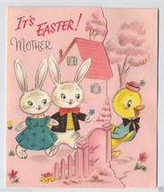 Unused Vintage EASTER BUNNIES Greeting CARD for MOTHER Mom 1940's Bunny ... - $5.99