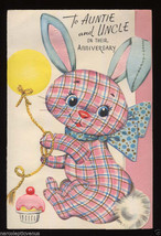 1940's Unused ANNIVERSARY Greeting CARD To AUNT & UNCLE Gingham BUNNY Vi... - $7.00