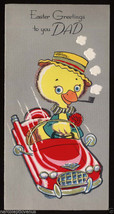 Unused Vintage EASTER Greeting CARD for DAD Father CHICK Duck DRIVING Ca... - $5.95