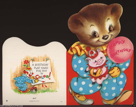 Cute Vintage BIRTHDAY BEAR Clown COLOR IT Paperdoll GREETING CARD 1950's - $5.95