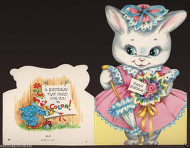 Cute Vintage BIRTHDAY BUNNY Girl COLOR IT Paperdoll GREETING CARD 1950's - $5.95