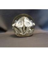 Vintage Aqua Calla Lilies Art Glass  Paper Weight  - $15.29
