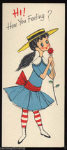 Vintage GET WELL Greeting CARD Victorian Girl in striped stockings 1950'... - $7.00