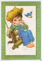 1960's GET WELL Boy on a SWING Bluebird PUPPY Vintage GREETING CARD Unused - $8.00