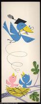Unused 1960's GRADUATION BIRD Congratulations Greeting Silk Screen Print... - $9.95