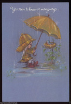 FRIENDSHIP Youre NICE Pixie Child Rain Umbrella BIRD NEST Vintage Greeti... - $5.95
