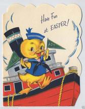 Vintage SAILOR Duck on Tugboat EASTER CARD 1940s w Glitter Unused  - $9.95