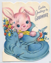 Unused Pink BUNNY in Baby Shoe Vintage EASTER CARD for GRANDMOTHER Glitt... - $9.95