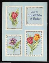 Unused Vintage EASTER CARD Love to GRANDMA 1950's Tulips & Pansy GRANDMO... - $5.95