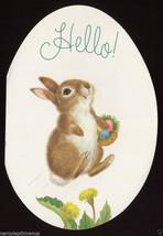 Vintage 1970's EASTER Bunny RABBIT Dandelion Egg Shaped GREETING CARD Un... - $8.00