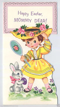 Unused BUNNY Rabbit EASTER Egg Pretty GIRL in HAT Vintage EASTER CARD 19... - $7.00