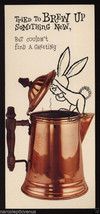 Vintage BIRTHDAY Bunny RABBIT Copper COFFEE Pot GREETING CARD MID Centur... - $8.95