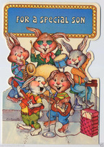BIRTHDAY Special SON Rabbits ROCK BAND Vintage GREETING CARD Unused - $5.00