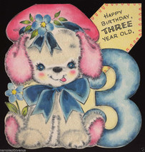 1948 HAPPY 3rd BIRTHDAY Flocked PUPPY Greeting CARD HALL Brothers UNUSED... - $7.00