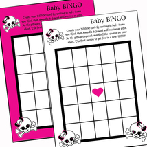 Punk Princess Girly Skull Baby Shower BINGO cards game activity Printabl... - $8.99