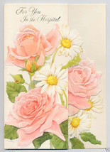 Vintage Get Well In the HOSPITAL Greeting CARD Roses Daisy Unused 1960's - $4.50