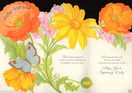 Vintage 1970's GET WELL Poppies BUTTERFLY Die Cut Fold Out GREETING CARD... - $4.95