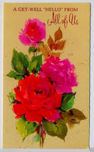 1960's Vintage GET WELL Hello from all of us Greeting CARD with Flowers - $4.95