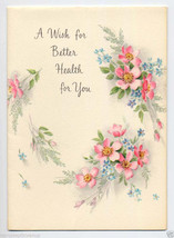 Vintage Unused 1950's GET WELL Card Pink FLOWERS A Wish Better Health SWEET - $3.95