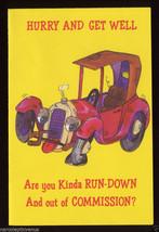 UNUSED GET WELL Model T Antique Automobile CAR Auto CARD Anthropomorphic... - $4.50