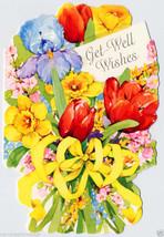 1960's Die Cut FLOWER Bouquet GET WELL Wishes Vintage GREETING CARD Unused - $4.50