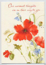 1970s GET WELL RECOVERY Red POPPIES Flowers Poppy Vintage GREETING CARD ... - $4.95
