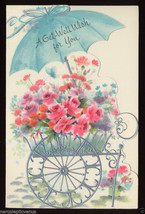 1960's GET WELL Flower CART Umbrella ROSES Die Cut Embossed Unused Greet... - $4.95