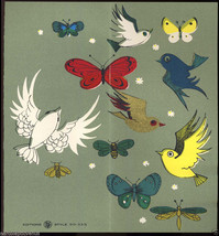 Vtg 1960's SILKSCREEN BIRDS Get Well Greeting CARD Mid Century Modern UN... - $20.00