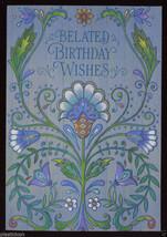 1960's BELATED BIRTHDAY Wishes Vintage Greeting CARD Floral Design UNUSED - $5.95