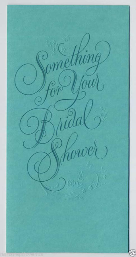 1970's BRIDAL SHOWER Money WALLET Card Vintage Embossed GREETING CARD Unused