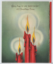 1946 Sweetheart CHRISTMAS Greeting CARD Candles Die Cut GOLD Foil Vtg Ha... - $7.00