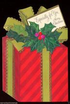 1960's Unused CHRISTMAS Greeting CARD Die Cut Wrapped GIFT Vintage Hallmark - $5.95