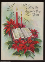 Unused 50s Poinsettias & Bible CHRISTMAS Greeting CARD Vintage Glitter H... - $4.95