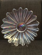 Vintage Iridescent Ribbed Depression Glass Scalloped Serving Plate - $15.35