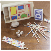 Kikkerland Vintage Game Set Cards Dice Yo Yo Pick Up Sticks Wooden NEW - $8.89